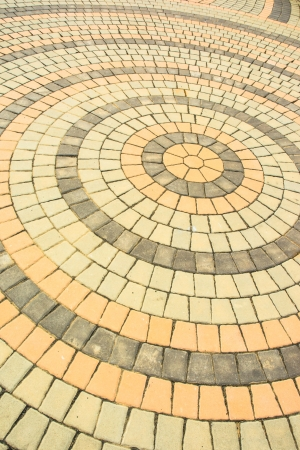 old orange tone brick blocks floor circle pattern detail photo