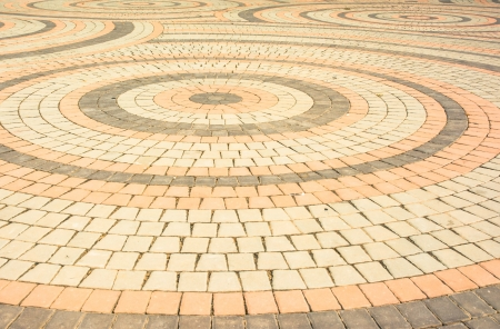 orange tone brick blocks floor circle pattern detail photo