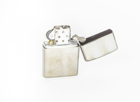 silver lighter isolated on white backgrounds photo