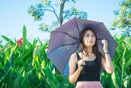 smilling: asia girl smilling with hold umbrella  at sunshade on natural background Stock Photo