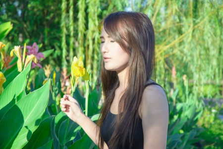 asia young girl face feel imagination on natural park photo