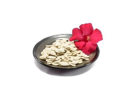 many white pumpkin seed on black dish and red flower isolated on white background photo