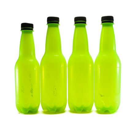 lot of bright old dirt green plastic bottle isolated on white background Stock Photo - 24085537