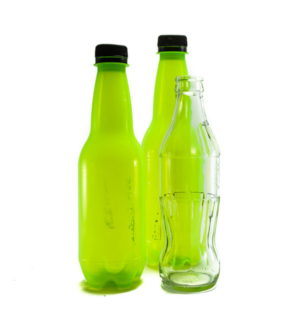 many plastic and glass bottle empty isolate on white background Stock Photo - 24164691
