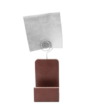 grunge note paper and old card holder detailed isolated on whitebackground photo