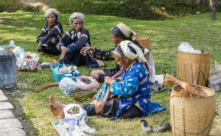 Chiang mai , Thailand - Dec 30 2013: Unidentified women of the asia tribal at north of thai People at Market in Chiang mai , thailand