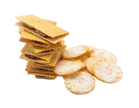 lot of desert biscuit and cracker isolated on white background photo