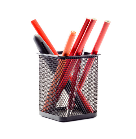 lot of pencil and old black pencil box  isolated on white background photo