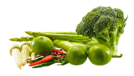 asian fresh green vegetable isolated on white background. photo