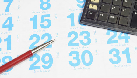 assignation: calendar for note, work with pen and calculator