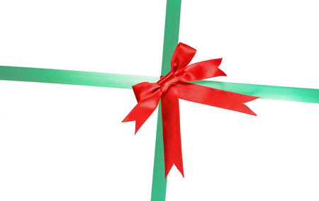 decor red and Green ribbon isolated on white background photo