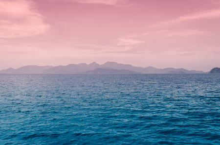 sea scape: sea scape natural outdoor and mountain range with retro filter