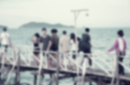 sean: blurred sean and natural with travel people outdoor scene with retro filter