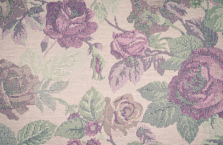 close up cotton fabric texture with flowers pattern with retro filter photo