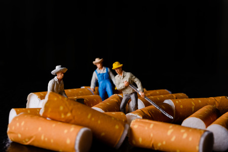 miniatures: lot of cigarette butt with miniatures workers on black Stock Photo