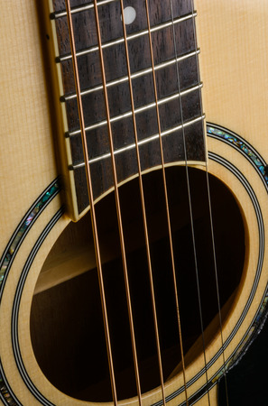 close up Acoustic Guitar with soft focus. photo