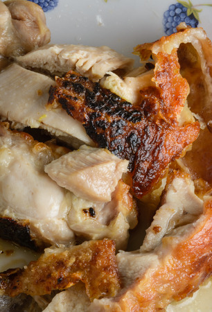 close up piece of thai roasted chicken food pattern photo