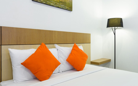 case sheet: Bed and pillow at home bed room