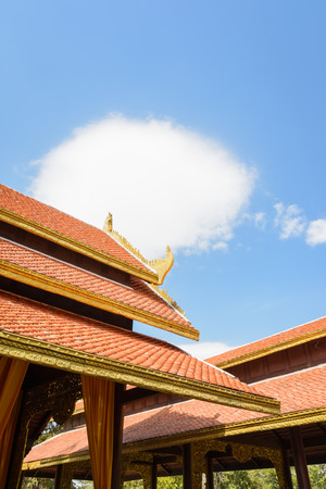 buddhist temple roof: Roof of Thai Buddhist temple Stock Photo