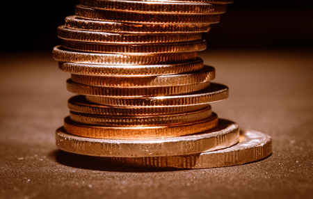 close up Stack of coins pattern detail with retro filter Stock Photo