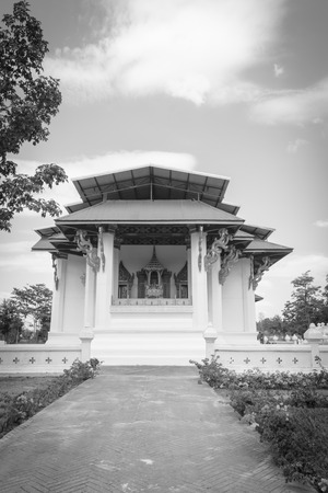 old public pavilion asia style at public temple with retro filter Stock Photo