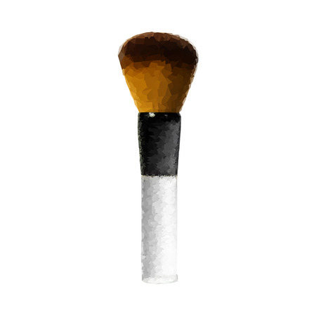 make up brush: polygon make up brush abstract . low poly (geometric)  make up. polygon object isolated on white Stock Photo