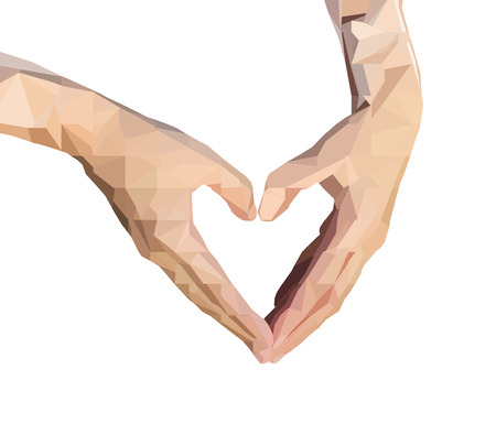 folded hand: polygonal two hands folded in the form of heart. low poly human hand isolate on a white background