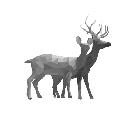 polygon triangle couple deer buck and doe illustration. Low poly ( geometric ) deer animal isolate on backgrounds Stock Photo