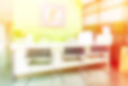 dispensary: blurred background of counter services & cashier desk indoor space