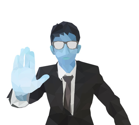 polygon businessman showing hand and wear glasses. low poly illustration. polygonal hand pressing and push imaginary button isolated on white