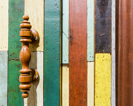 wood old style wall pattern and wood door handle Stock Photo