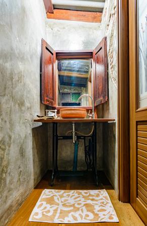 wash basin: old thai style wash basin in the home bathroom Stock Photo