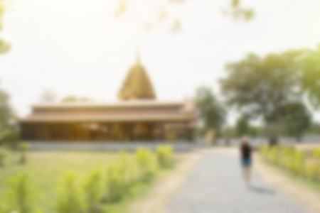 blur background of thailand temple public and outdoor nature