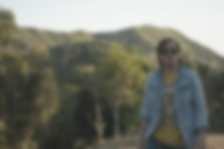 blur background of people man at outdoor natural forest mountain