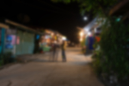 blur background of night market thailand and people outdoor at night scene Standard-Bild