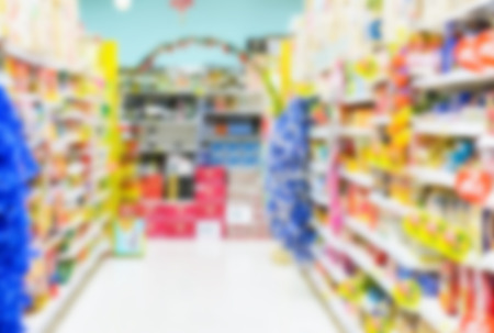 blur background of store shop retail at supermarket in thailand Standard-Bild