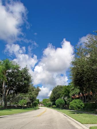 suburbs: Empty residenital street in Florida suburbs Stock Photo