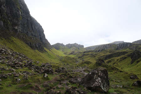 A hike along the Quiraing Isle of Skye Banque d'images
