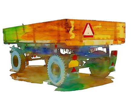 siding: Tractor siding isolated vector, a work created for the sale of agricultural machinery Illustration