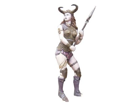 stock clipart icons: Historical barbarian woman warrior with a spear ready to kill the isolated Suitable for fantasy books fantasy games dungeon RPG icons comics Stock Photo