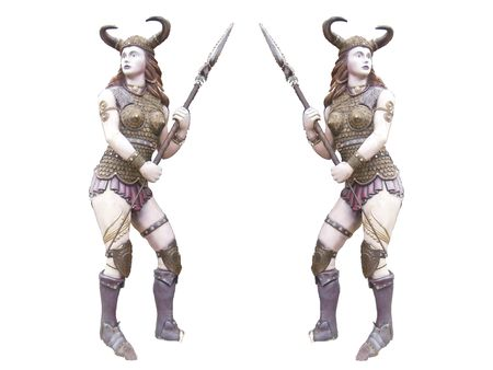 lass: Historical barbarian woman warrior with a spear ready to kill the isolated Suitable for fantasy books fantasy games dungeon RPG icons comics Stock Photo