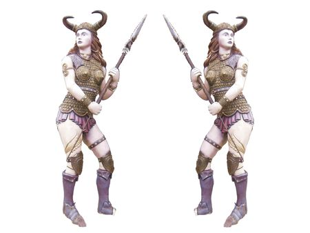 dungeon: Historical barbarian woman warrior with a spear ready to kill the isolated Suitable for fantasy books fantasy games dungeon RPG icons comics Stock Photo