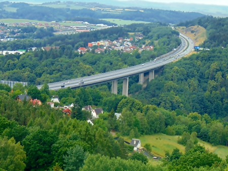 km: Highway D1 Velke Mezirici, 145 km bridge Vysocina Stock Photo