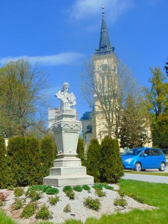 View of the square of the Nove Mesto na Morave Reklamní fotografie