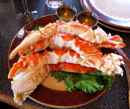 rey: cangrejo alimentaria de las piernas, la comida alaska Foto de archivo