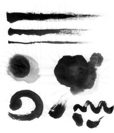 brush stroke: chinese brush ink calligraphy black Stock Photo