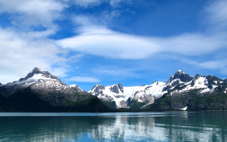 snow capped: mountain snow lake at alaska Stock Photo