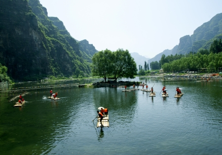 bamboo raft river at chinese guilin photo