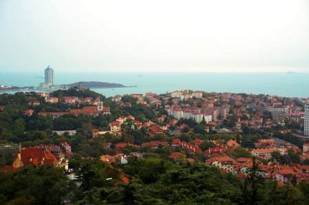 overlook: china city qingdao, overlook from hill