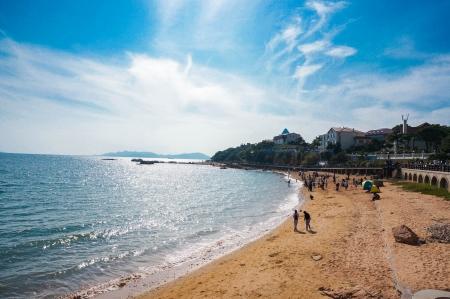 seaside building at china qingdao 免版税图像